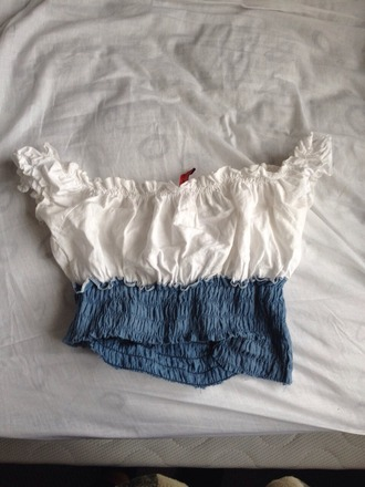 shirt mexican mexico spanish latin latino crop tops crop top blue white ruffle bandeau navy