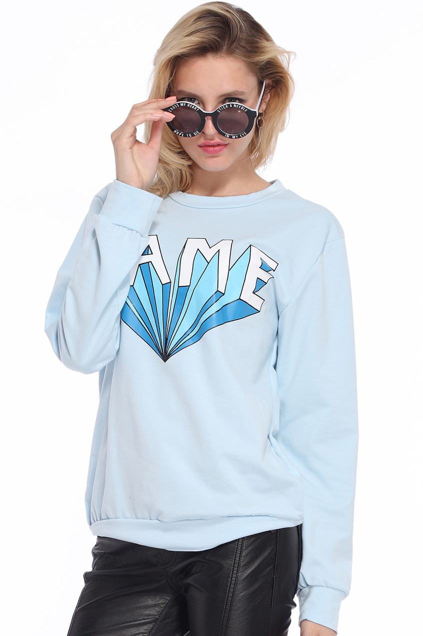 ROMWE | LAME Printed Blue Pullover, The Latest Street Fashion