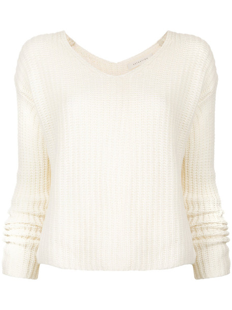 Estnation jumper women white wool knit sweater