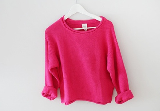 sweater hot pink crewneck girl comfy winter outfits