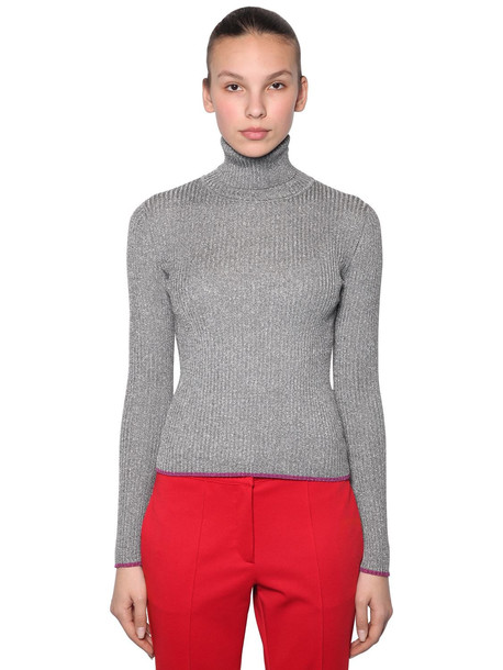 MARCO DE VINCENZO Lurex Ribbed Turtleneck Sweater in silver