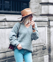 sweater,hat,felt hat,tumblr,grey sweater,v neck,knit,knitted sweater,denim,jeans,blue jeans