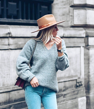 sweater hat felt hat tumblr grey sweater v neck knit knitted sweater denim jeans blue jeans