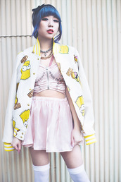 blouse,japanese,japanese streets,jacket,the simpsons,pink,spikes,bustier,corset,skirt,bow,pink skirt,pink shirt,shirt,necklace,punk,pastel,pastel goth,goth hipster,hipster,top