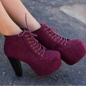 shoes,burgundy,burgundy shoes,jeffrey campbell,burgandy shoes,high heels,booties,chunky heels,ankle boots