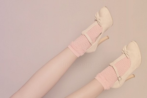 Shoes: white, bows, heels, pink, mary-jane - Wheretoget