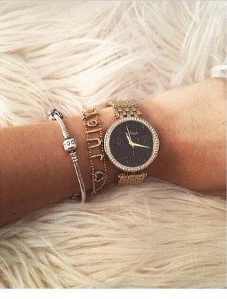 jewels diamond sparkly gol watch bracelet