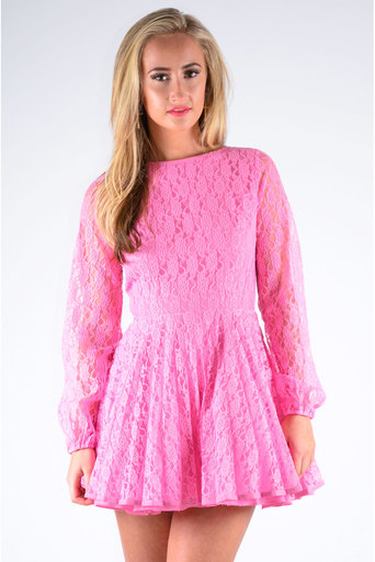 Womens Inez Pleated Lace Dress in Pink | Pop Couture