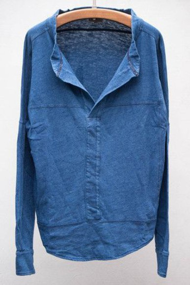 blouse top blue shirt blue top blue/indigo denim blouse