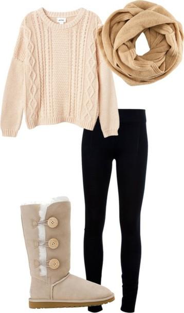 sweater ugg boots black leggings leggings scarf boots fall outfits fall outfits winter outfits november december