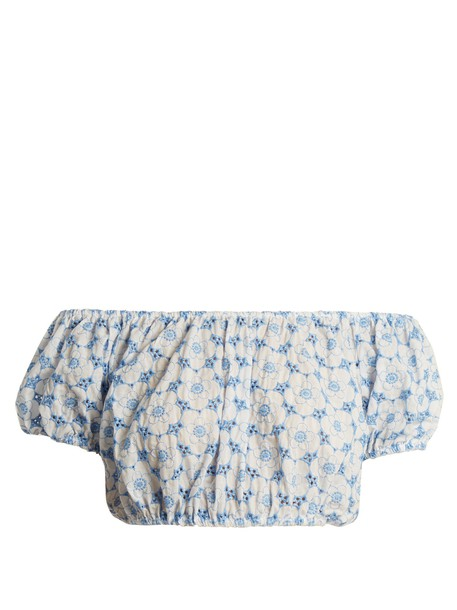 top embroidered cropped floral cotton blue