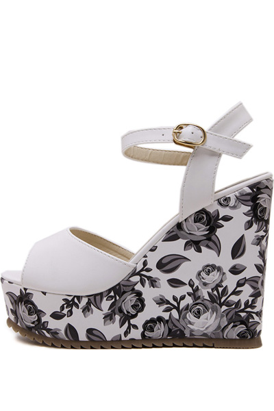 White Floral Print Peep Toe Ankle Strap Wedges