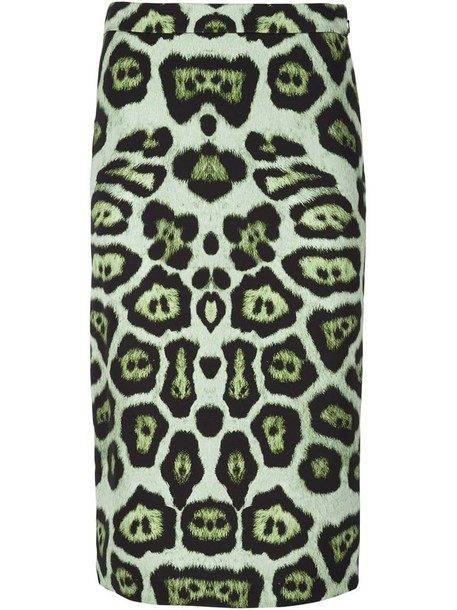 Givenchy skirt pencil skirt print leopard print green