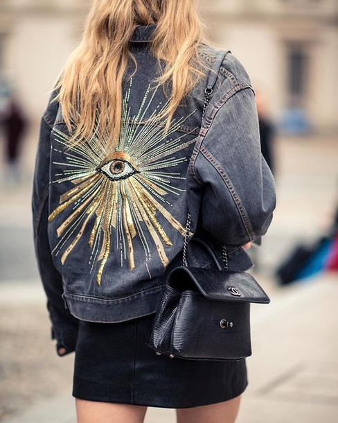 jacket denim skirt mini skirt bag black bag denim jacket embellished denim embellished sequins