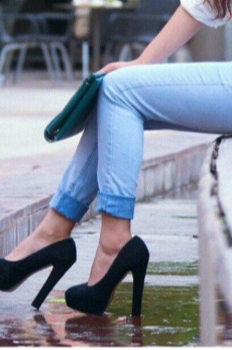 shoes black black shoes high heels black heels jeans