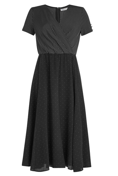 Max Mara Printed Silk Dress  in black