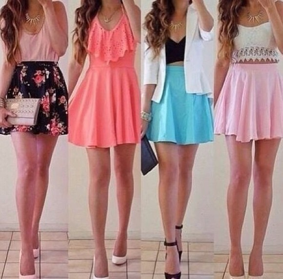 floral skirt pink dress blue skirt lovely outfit pink skirt top where to get. dress skirt shirt shoes cute dress