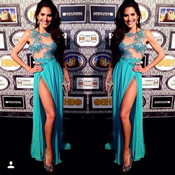 dress turquoise dress prom dress