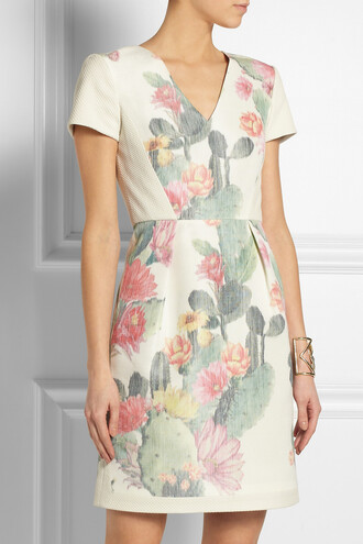 dress floral-print cotton and silk-blend mini dress floral silk mini dress cotton matthew williamson pathway gold-tone moonstone cuff cuff bracelets gold jewels pamela love
