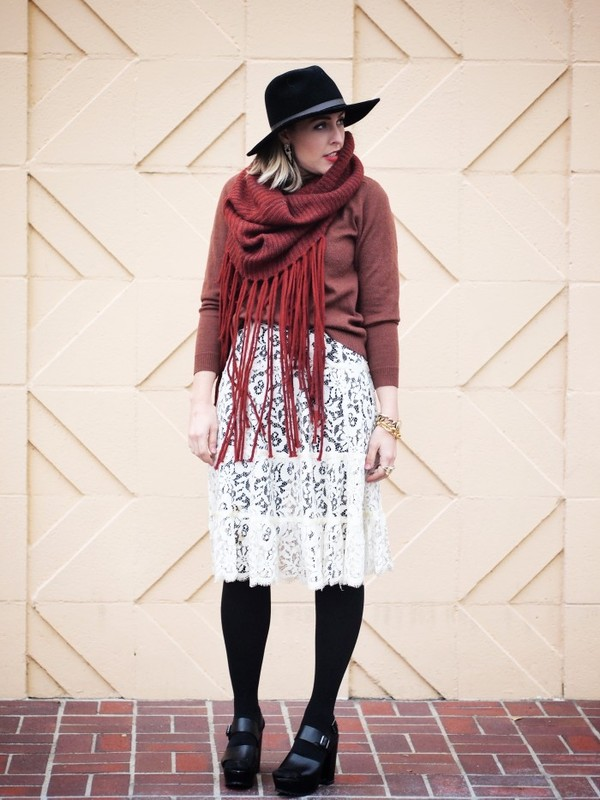 b. jones style hat scarf skirt sweater shoes