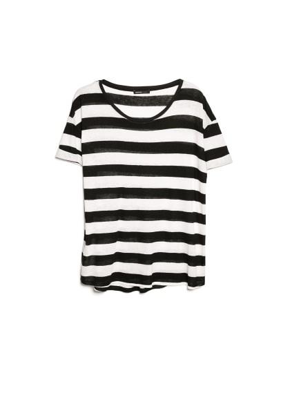 striped linen-blend t-shirt