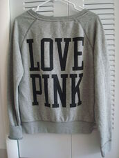 sweater,grey,victoria's secret,pink by victorias secret