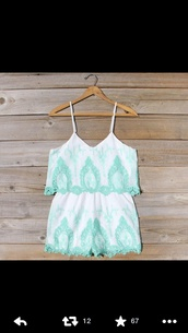 shorts,pretty,summer,jumpsuit,dress,cute,lace,white,mint,pastel,romper,blue and white romper,summer outfits,girly