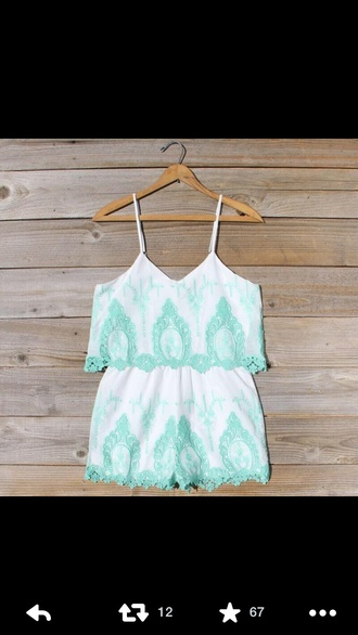 shorts pretty summer jumpsuit dress cute lace white mint pastel romper blue and white romper summer outfits girly