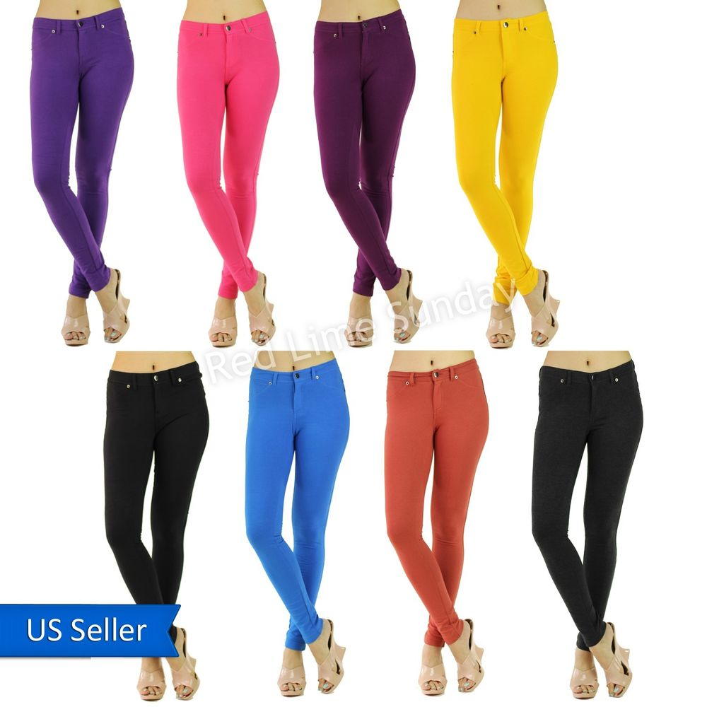 New women sexy skinny solid color stretchy jeggings leggings tights pants jeans