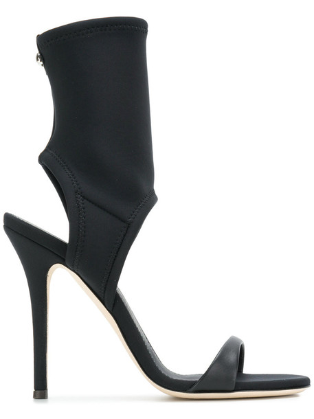 GIUSEPPE ZANOTTI DESIGN women sandals leather black neoprene shoes