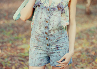 shirt dress floral cute nature dungarees playsuit floral shorts spring romper jumpsuit dungaree thecarriediaries carrie
