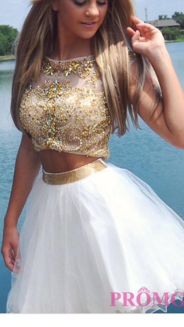 short prom dress- white prom dress- 2 piece prom dress- junior ...