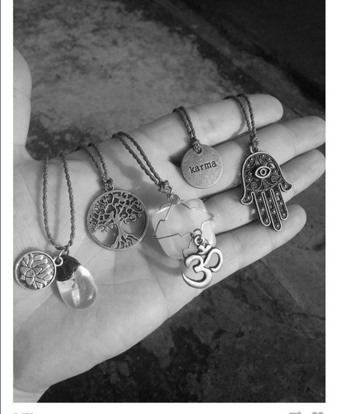 hippie jewels necklace hippie chic alternative charms good luck charm good luck charms charm