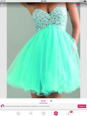 dress mint green prom dress diamond dress