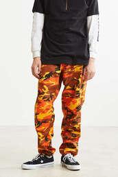 jeans,pants,army pants,army print,orange,orange pants,camouflage,camo pants,orange camo pants