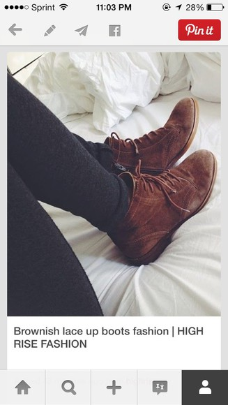 shoes lace up boots boots fashion ankle boots lace up color brown booties suede suede boots cute brown suede boots