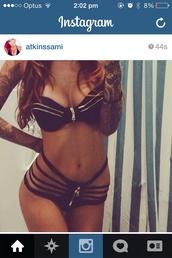 swimwear,bikini,black bikini,zip,sexy,black swimwear,gypsy one