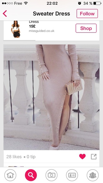 sweater dress dress knitted dress maxi dress long sleeve dress nude dress