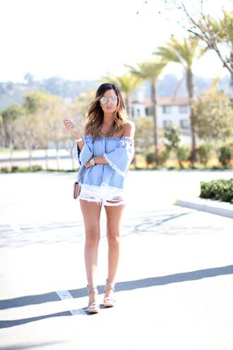 for all things lovely blogger top shorts shoes bag jewels sunglasses
