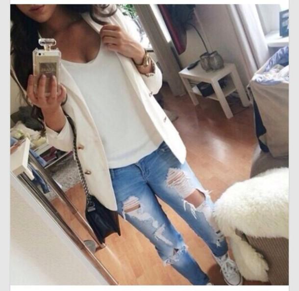 bag belt blouse jeans pants cardigan