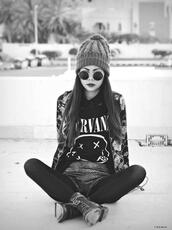shirt,black and white,sunglasses,vintage,hat,jacket,glasses,grunge,band t-shirt,shorts,floral jacket,underwear