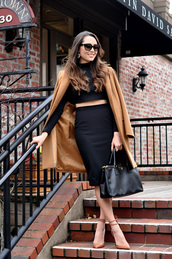 hapa time,blogger,pencil skirt,black skirt,camel coat,sandals,handbag,classy,black crop top,top,coat,shoes,bag,sunglasses,jewels,skirt