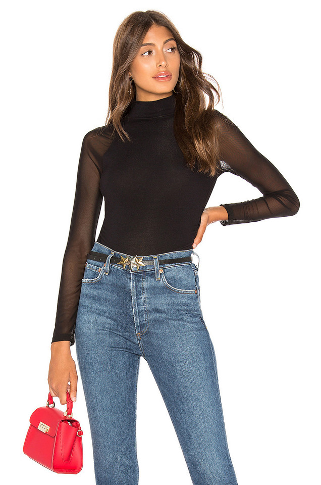 Generation Love Joelle Mesh Top in black