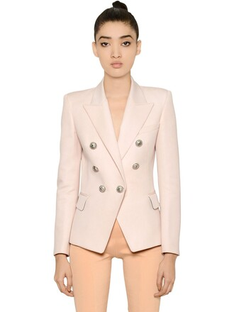 jacket wool jacket double breasted wool pink
