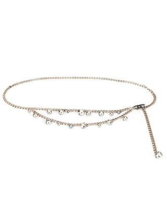 bow women pearl belt grey metallic