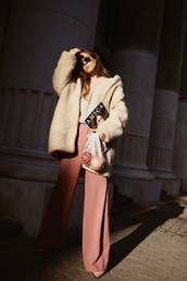 sirma markova,blogger,coat,sweater,pants,shoes,sunglasses,teddy bear coat,pink pants,winter outfits