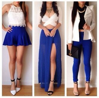 royal blue blue and white white blue slit skirt blue skirt white crop tops crop tops lace top white lace top white jacket cut out crop top slit maxi skirt skater skirt blue pants outfit idea outfit blouse skirt jacket leggings dress cardigan shirt maxi skirt white too shoes heels black straps open toes 6inces blazer top