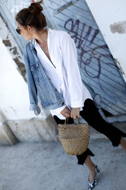 b a r t a b a c blogger shirt pants shoes bag black jeans denim jacket basket bag spring outfits white shirt
