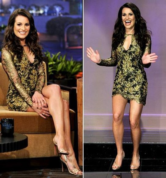 glee lea michele dress gold black sexy shoes high heels