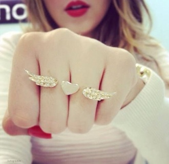 jewels angel wings angel heart ring gold gold jewelry jewelry